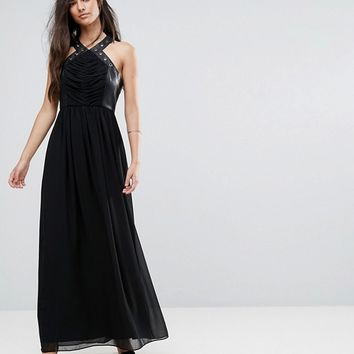 BCBG Faux Leather Eyelet Cross Strap Maxi Dress at asos.com