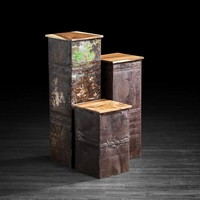 Set of 3 Rustic Metal Pedestals with Suar Wood Tops | Artemano