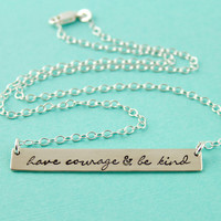 Cinderella Necklace - Have Courage & Be Kind - Sterling Silver Necklace