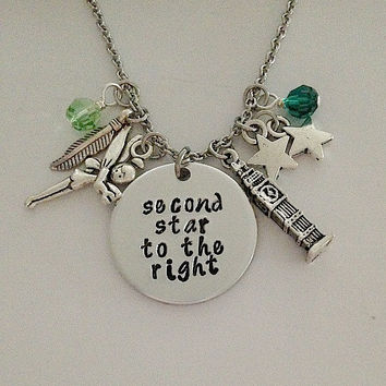 """Disney inspired Peter Pan necklace """"second star to the right"""" Tinkerbell Neverland hand stamped swarovski crystals charms"""