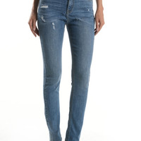 Distressed High Rise Skinny Denim by Just USA Jeans