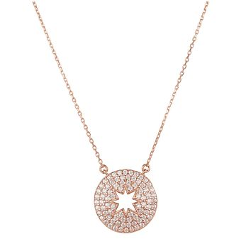 The Antares, A 22CT Rose Gold Open Star Round Pendant Necklace