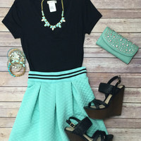 Preppy Stripes Skirt: Mint