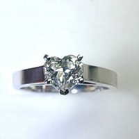 1.03ct G-SI1 Heart Shape Diamond Engagement ring 18kt white gold JEWELFORME BLUE