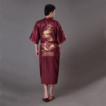 Oversize XXXL Burgundy Men's Kimono Bath Gown Chinese Style Silk Satin Robe Embroidery Dragon Nightgown Sleepwear Pijamas MR009