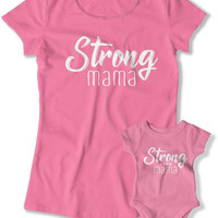 Mom And Daughter Shirts, Mommy Daughter Gift, Mothers Day Present, Matching T Shirts, Family Outfits, Baby Shower, Strong Mama TEP-1066-1067