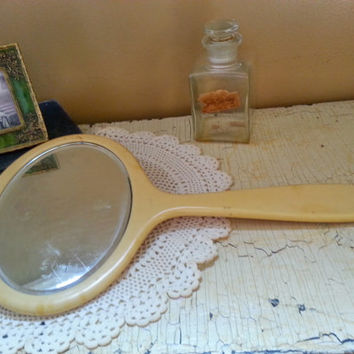 Antique Bakelite Dresser Hand Held Beveled Mirror