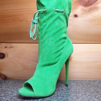 "Alectrona Kelly Green Perforated Drawstring Mid Calf Boots - 4.75"" Heels"