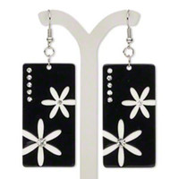 Black White Lucite Czech Crystal Rhinestone Rectangular Mod Flowers Earrings
