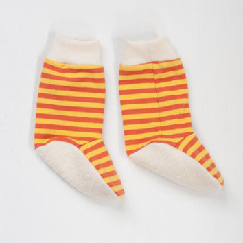 organic baby booties | yellow orange striped unisex gender-neutral baby legwarmer style booties for boys or girls 0-3 3-6 6-12 months