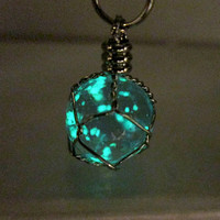 Luminous Wire Wrapped Crystal Orb Necklace Blue Glowing Pendant Glow Ball Necklace Glow in the Dark Jewelry Teen Necklace Trendy Gift