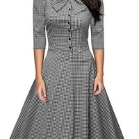 Women's Official Bow Neck Plaid Slim Half Sleeve Vintage Dress