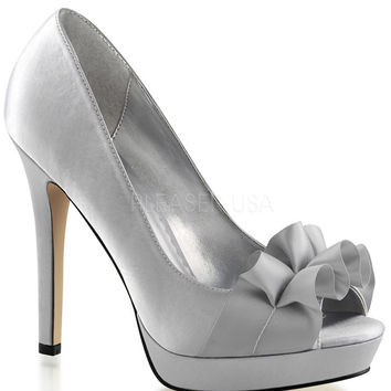 Fabulicious Lumina Silver Satin Peep Toe Pumps