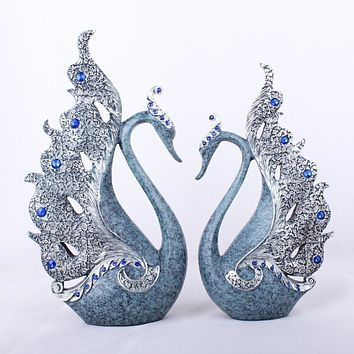 Natural Love Blue Swan Figurines Ornaments