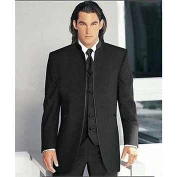 Free shipping Gentleman Black  Tie Suit Men Suits Three  Piece Suit Groomsmen Wedding Suits For Man Clothing Hot Sell