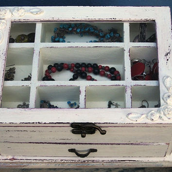 Melissa Cream & Brwon Shabby Chic Wooden Jewelry Box by tammnoony