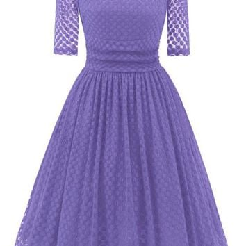 A| Chicloth Lace Vintage Party Fit And Flare Dress