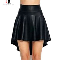 Black High Waist PU Faux Leather Mini Skater Skirt Asymmetric High Low A Line Streetwear Clubwear Skirts 2016 Women Clothing