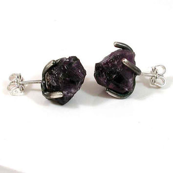 RAW Amethyst and Silver Post Earrings Rock by SwankMetalsmithing