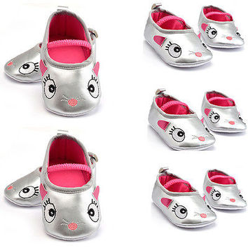 Baby Boys Girl Toddler Infant Silver Soft Sole Crib Shoes Slip-on Autumn Shoes