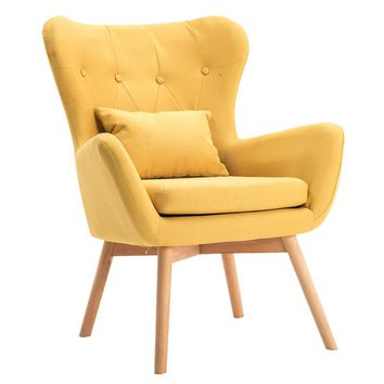 Mid-Century Modern Single Sofa Chair with Tufted Back&Wood Legs