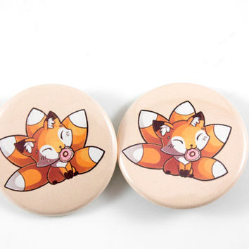Adorable Fox, Kitsune Pinback Button, Badge, Pin, Cute Animal Art