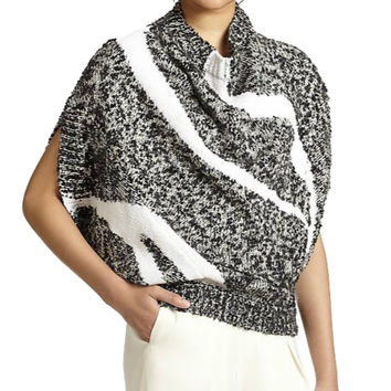 3.1 Phillip Lim Intarsia Black and White Mixed Yarn Cowl Neck Sweater