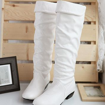 Hot Deal On Sale With Heel Knee-length Round-toe Boots [11192812167]