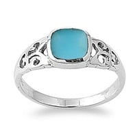 Turquoise Square Stone Sterling Silver Ring