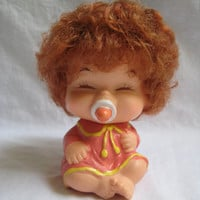 Vintage Doll Japan Collectible Red Rooted Hair Closed Eyes Soother Baby ATO Mark Clean