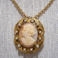 Florenza Shell Cameo Pin Pendant Combination, Antique Revival Brooch Necklace, Book Piece, Faux Pearls 1117