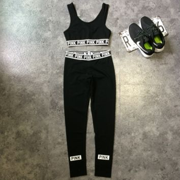 PINK Victoria's Secret Sport Vest Pants Trousers Sweatpants Two-Piece Set Sportswear