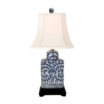 Blue and White Chinoiserie Floral Twisted Lotus Porcelain Jar Table Lamp 15""