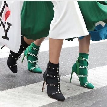 Valentino new office female socking Zipper Ankle Short Boots Flats High Heels Shoes for women Winter Autumn