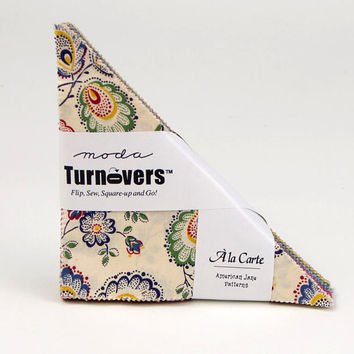 "A LA CARTE Turnover from American Jane for Moda, Precut Fabric Triangles, 6"" Triangle Precuts, French Country Fabric, Provence, Floral"