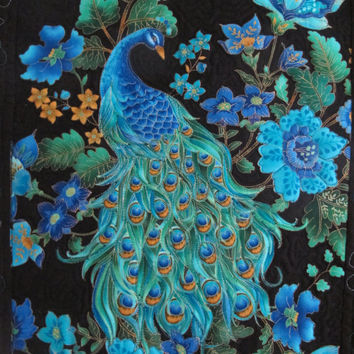 Peacock quilt wall hanging