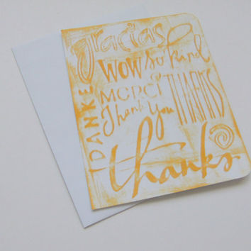 Handmade Thanks Card Embossed Inked Gracias Danke Merci So Kind Wow