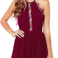 Burgundy Halter Neck Lace Detail Chiffon Open Back Mini Dress
