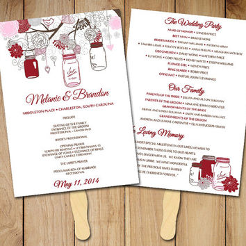 "DIY Wedding Program Fan Template - Rustic Ceremony Program ""Mason Jar"" Red Pink Gray - Instant Download - Printable Wedding Program Favor"
