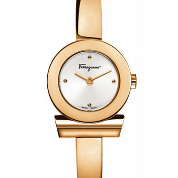 Ferragamo Ladies Rose-Gold Gancino Bracelet Watch