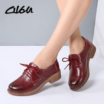 O16U Women Lace up Oxfords Shoes Real Leather Rubber sole Ladies Moaccasins Flats Female Vintage Pointed Toe Oxfords Spring