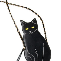 Black Cat Chain Body Bag