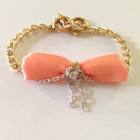 Peach Satin Bow Gold Chain dangle rhinestone by WanderFree on Etsy