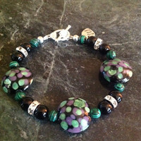 Emerald Green Lampwork Bracelet / Natural Gemstone Jewelry / Trendy / Gift Ideas / Free Shipping