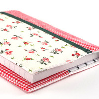 Fabric Journal Cover - Little Red Roses - A6 Notebook, Diary - Romantic Flowers With Green Satin Ribbon and Red Gingham