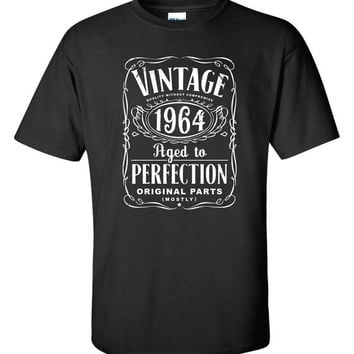 50th Birthday Gift For Men and Women - Vintage 1964 Aged To Perfection Mostly Original Parts T-shirt Gift idea. More colors available S-12