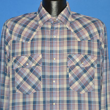 80s Levis Purple Metallic Plaid Western Pearl Snap Shirt Large