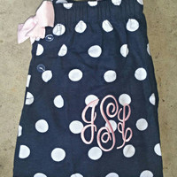 Monogrammed pajama pants. Adult and youth sizes available.  Great for gifts, cheer teams, sororites  and bridal parties.