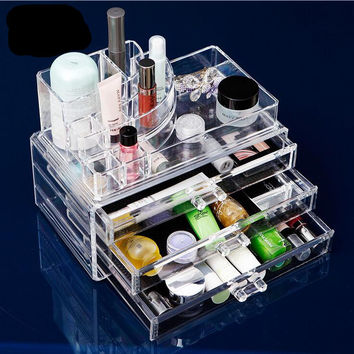 New Clear Acrylic Makeup Organizer Storage Box Transparent Cosmetic Organizer Makeup Storage Drawers 8 Models