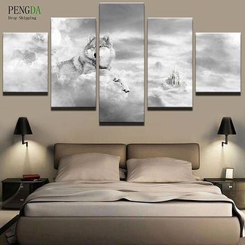 PENGDA Modern Frames 5 Panel Animal Wolf Canvas Painting Home Decor For Living Room Canvas Art Printed On Canvas Wall Picture